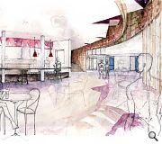 """Judges citation for Rebecca Goodson: """"This superb suite of drawings uses a number of different techniques, traditional and contemporary, to communicate a complex set of proposals, elegantly and attractively. The use of colour is particularly powerful"""