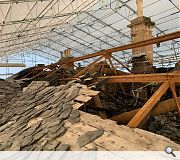 The dangerous roof was carefully dismantled, preserving surviving slate