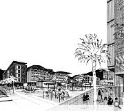 This Alan Dunlop sketch depicts the view toward a public square
