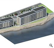 Planned additions to the waterfront include this 59 home apartment block by Norr