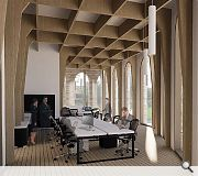 An interior timber lattice structure is inspired by the existing church roof
