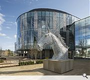One of sculptor Andy Scott's trademark Kelpies sculptures graces the main entrance