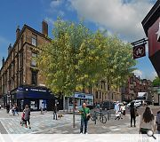 Tree planting and high quality paving in evidence at the junction with Great George Street