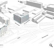 A six-storey student housing block is envisaged for the corner plot