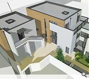 Read together with an existing boundary wall the flats will enclose a private garden and landscaped communal courtyard