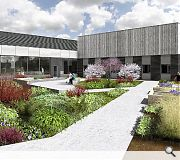 A publicly accessible therapy garden is included in the plans
