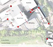 A diagram showing the relationship of the new facility to the existing estate