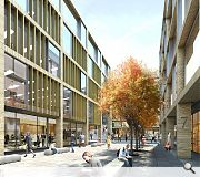 A series of courtyard spaces will open up new pedestrian connections