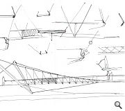 Early sketch work for the modified suspension bridge