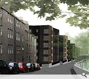 The student flats will be clad in a combination of stone, timber and glass