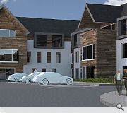 The care home will sit under a pitched roof, in contrast to its hotel neighbour