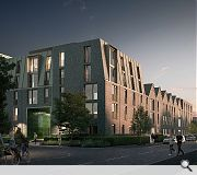 Apartments make use of toned buff masonry with pitched roof elements finished in colour-coated standing seam metal