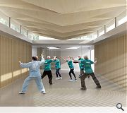 A yoga and tai chi studio are among the spaces provided