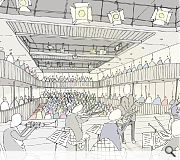 A new auditorium space would be carved out within the old post office