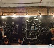 The Doodle Bar sits at the centre of the anarchic complex and encourages patrons to draw on its walls to create a constantly changing backdrop