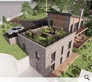 Built into the hillside the home will present a deceptively small mass from Beech Road