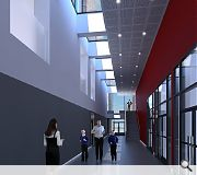Different schools within the campus will share a central atrium space