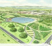 Extensive landscaping will transform a central portion of the site into a large park