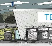 Tesco (may) redevelop the town centre. Cartoon by Patrick Strickland