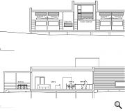 Proposed section outlining lounge and decking area