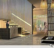A ground floor reception area is modelled on traditional grand hotel parlours