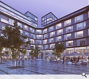 A low-rise hotel will front the schemes central public space