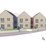 properties will be finished in larch boards, blue engineering brickwork and sheet cladding panels