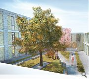 Twin internal courtyards sit at the heart of the plan