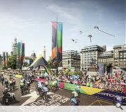 The square itself will play host to road cycling events over the course of the games