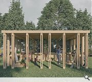 The community classroom has been conceived as an outdoor learning space
