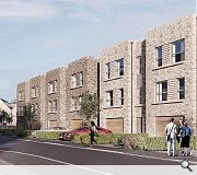 Textured brick has been selected to unify the development