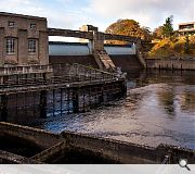Visitors can learn how a fish ladder allows salmon to bypass the dam