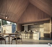 A huge kitchen, living and dining space sits at the heart of the home
