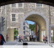 A new archway on the Royal Mile, part of a separate planning application for the southern site, gives access to the public square