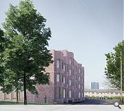 Red brick is used to harmonise with inter-war Glasgow Corporation housing