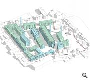 New build elements (turquoise) marry with retained industrial buildings