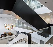 A light-filled atrium creates a calming environment for patients