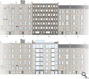 The rear facade will be replaced with sandstone